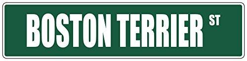 Iliogine Metal Door Sign Boston Terrier Green Dog Street Sign Decoration Garden Decorative UV Protected & Waterproof ()
