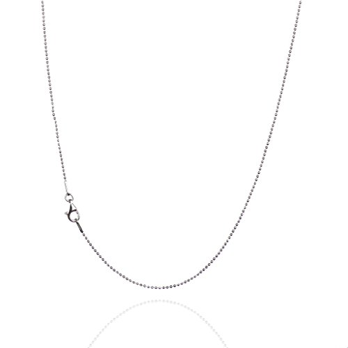 (925 Sterling Silver 1.00 mm Smooth Bead Chain Necklace with Pear Shape Clasp-Rhodium Finish)