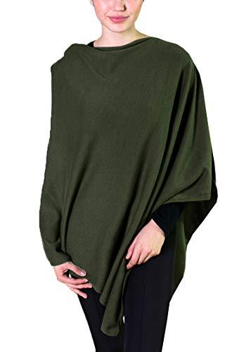 - Viverano Pure Organic Cotton Knit 5-Way Poncho Wrap, Cardigan & Sweater, Dress Topper (Cargo Green Heather)
