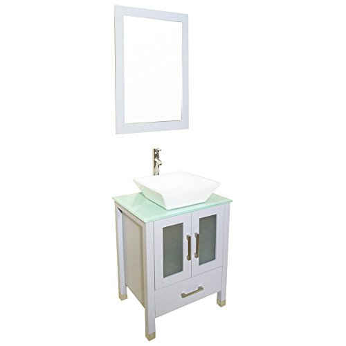 QIERAO 24 inch Gray Bathroom Solid Wood Vanity With Mirror Countertop Square Ceramic Vessel Sink (Gray) ()