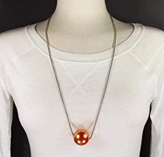 (Orange Peach big huge faux pearl necklace bead beaded 29 long statement sweater)
