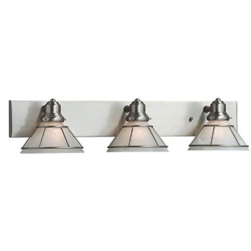 Dolan Designs 633-09 3Lt Bath Satin Nickel Craftsman 3 Light Bathroom Fixture, ()