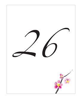 Weddingstar 8884-13 Cherry Blossom Table Number Card- Numbers 13-24