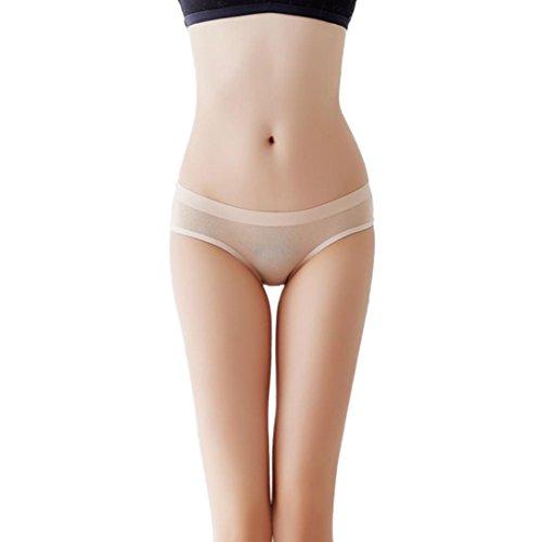 Elogoog Women Sexy Lace Hipster Briefs Sexy Open Crotch Thongs Bowknot Lingerie G-String Underwear (Khaki)
