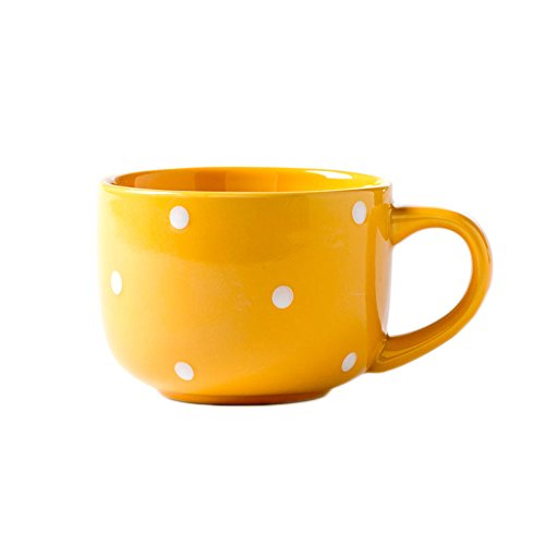CHOOLD Large Ceramic Coffee Mug Polka Dot Milk Cup Tea Cup Jumbo Mugs Soup Bowl with Handle for Couple 15oz(Colorful)