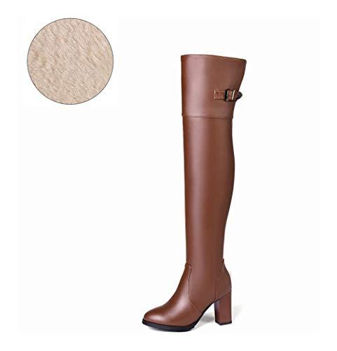 Muslo Suave Cuero Botas Mujer Artificial Zapatos A Confort Alto La De Altos Tacones Rodilla Haoliequan Marrón Cuadrados Sobre XB0xv0F