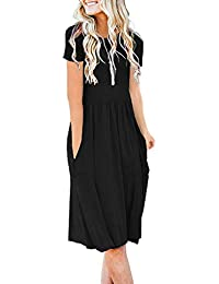 Women's Short Sleeve Pockets Empire Waist Pleated Loose Swing Casual Flare Dress