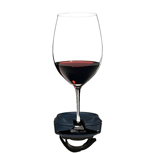 Outdoor Wine Glass Holder by Bella D'Vine for Stemmed wine glasses, Comes With a Strap Base For Chairs and Railing, Fun Wine Gift in NAVY BLUE by SunChaser