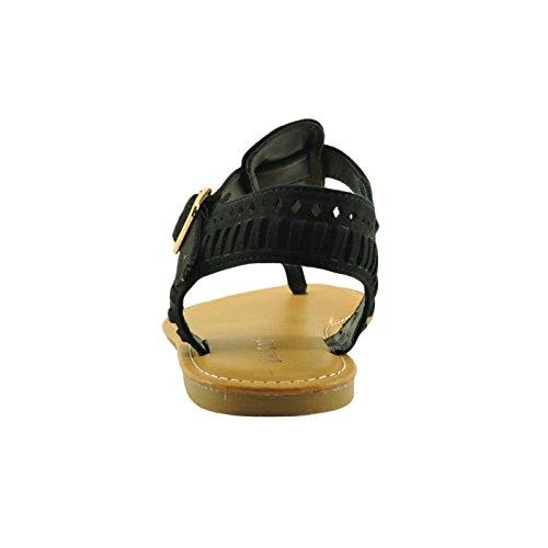 Sandali In Bambù Con Cinturino Intrecciato Da Donna Con Cinturino Alla Caviglia 31s In Bambù Nero