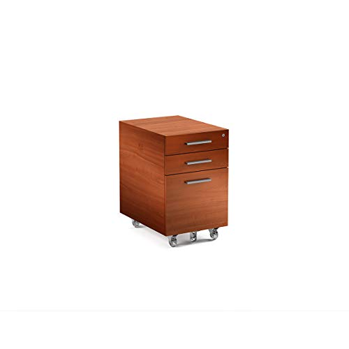 Bdi Cherry Cabinet - BDI 6007-2 CH Sequel Low Mobile File Cabinet & Pedestal, Natural Cherry