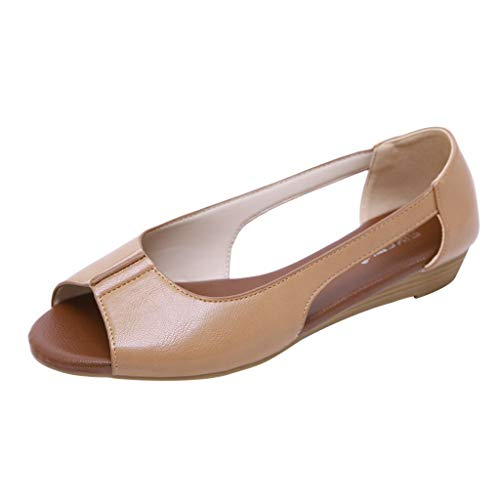 Toimothcn Flat Sandals for Women Open Toe Slip on Pu Shoes Summer Low Heels Strappy Sandal (Brown1,US:5.5) -