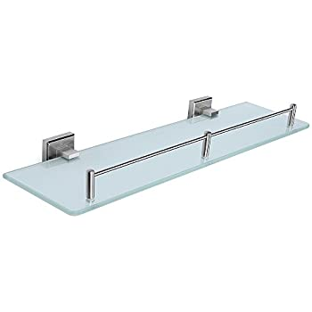 HOMEIDEAS Bathroom Frosted Glass Shelf 19.7 Inch Stainless Steel Lavatory  Tempered Glass Wall Shelf,Brushed Nickel