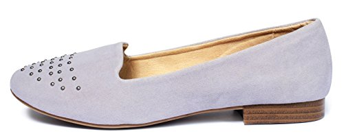 Damen Ballerina Pumps Slipper Loafer Flats Mokassins Bequemschuhe flache Schuhe mit Nieten NUDE BEIGE Gr.38