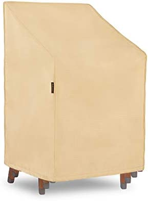 Hentex Stackable Patio Chair Cover,Breathable 3 Layer Eco Durable Waterproof, Velvet Liner Tight Fit by 2 Stopper Drawstring Leg Buckles,30x27x31.5 48 ,Khaki
