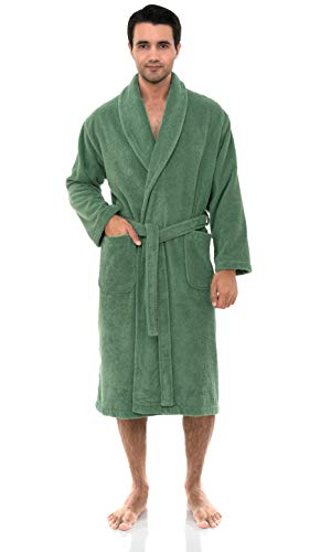 - TowelSelections Men's Robe, Organic Cotton Terry Shawl Bathrobe Small/Medium Deep Grass Green