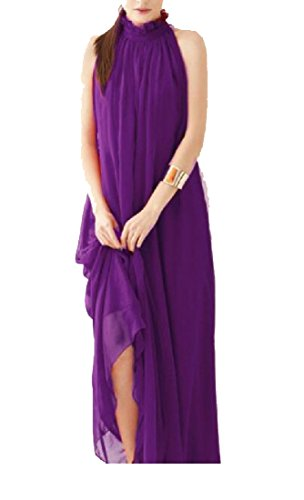 Coolred-femmes Sans Manches Plage Robe Maxi Licou Robes Longues Violet