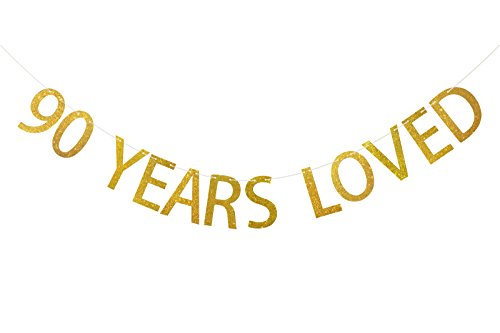 FECEDY Gold Glittery 90 Years Loved Banner for 90th Birthday Party Anniversary Decorations]()