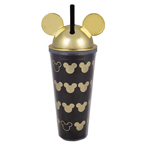 Disney Mickey Mouse Acrylic Travel Cup with Straw - Black with Gold Ear Design and Lid - 22 ()