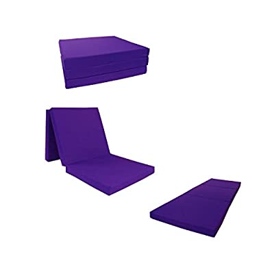 "Brand New Purple Shikibuton Trifold Foam Beds 3"" Thick X 27"" Wide X 75"" Long, 1.8 lbs high density resilient white foam, Floor Foam Folding Mats."