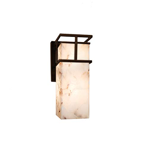Justice Design Group Lighting ALR-8641W-DBRZ Justice Design Group - Alabaster Rocks! - Structure Led 1-Light Small Wall Sconce - Outdoor - Dark Bronze Finish with Alabaster Rocks Shade,