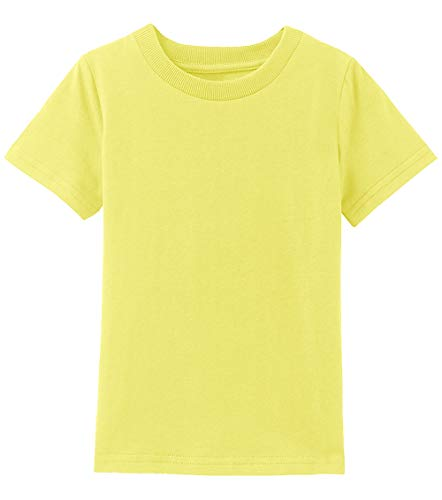 A&J DESIGN Infant Plain Short Sleeves Cotton Tshirts (Yellow, 18 Months) ()