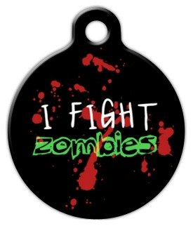 Zombie Fighter - Custom Pet ID Tag for Dogs and Cats - Dog T