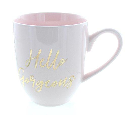 Pink Hello Gorgeous Ceramic Coffee Mug, 16oz.