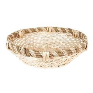 Tan Wicker Large Decorative Round Rope-and-willow Basket