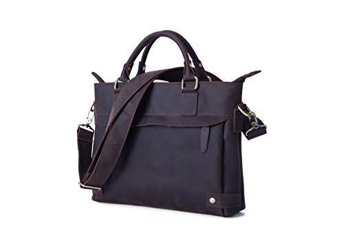 Retro Men's Briefcase Bags Portable Color Handbag For Leather Shoulder Messenger Chocolate 77arBOxqw