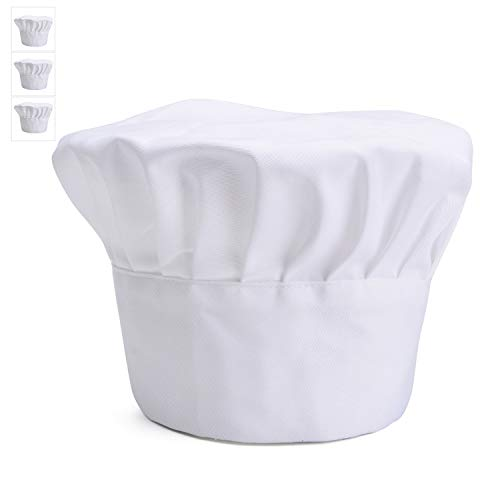 3 Pack Chef Hats for Women & Men, Adult Elastic Band Adjustable Toque for Restaurants Kitchen Catering Cooking, Lightweight Breathable Comfortable (White)