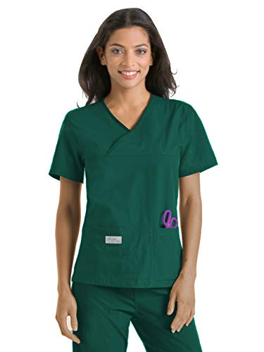 (Urbane Essentials 9534 Double Pocket Crossover Top Hunter Green M )