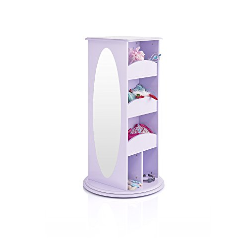 Guidecraft Rotating Dress Up Storage - Lavender: Kids' Wardrobe with 2 Mirrors, Cubbies & Hooks - Toddlers Clothing, Shoes & Accessories ()