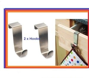 BRAND NEW 2 x STAINLESS STEEL OVER KITCHEN CABINET DRAW DOOR HOOKS ...