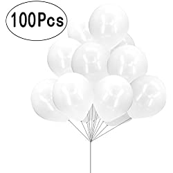 12inch Pearlescent Latex Shining White Helium Balloons Engagement Bridal Shower Wedding Reception Birthday Baby Shower Party Decorations, 100pc