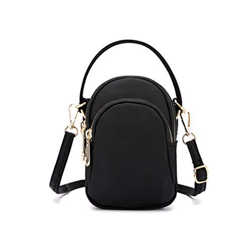 Small Women Girls Crossbody Handbags Cell Phone Purse Wallet Holder Pouch w/ 3 Zipper Pockets For Travel Work Shopping (Black)
