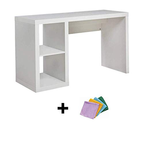 Better Homes and Gardens Cube Organizer Home Office Desk Made of Medium-Density Fiberboard Wood with Built-in Cable Door on Desktop, White + Reusable Cloth from Better Homes & Gardens