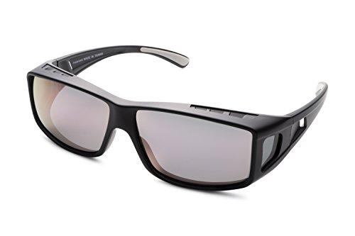 Mr. O Sunglasses Over Glasses for Women and Men Polarized 100% UV Protection (Charcoal, Smoke w/rose Revo)