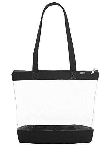 Clear Shoulder Zipper Tote, Black