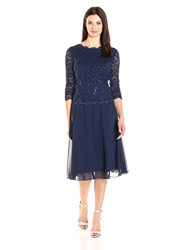 Alex Evenings Women's Sequin Lace Mock Dress (Petite and Regular), Navy, 12
