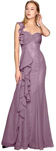 Dress Prom MACloth Elegant Simple Chiffon One Gown Wisteria Long Bridesmaid Shoulder AXa1SqX