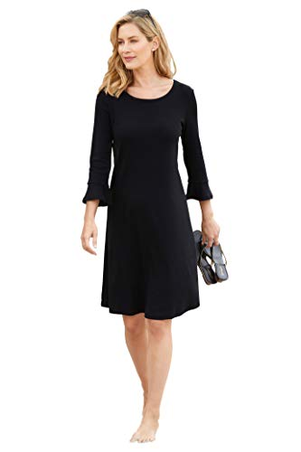 Chadwicks Ruffle-Sleeve Knit Dress - Dress Black Chadwicks