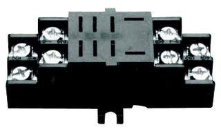 NTE Electronics R95-110 8 Pin Midget Blade Socket with Pressure Clamp Screw, Panel/Surface Mount, 300V, 10 - Midget Panel