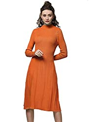 Fincati Cashmere Sweater Dress Women Winter Bodycon Party Dresses Soft Elegant Vertical Striped Knee Length Elegant L C Orange