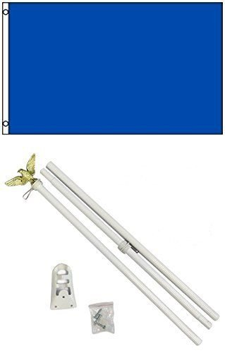 Flag 3x5 Advertising Solid Royal Blue White Pole Kit Set 3'x