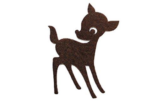Reh - 4,9 cm * 7 cm - Bügelbild Aufnäher / Applikation - Filz gefilzt Hirsch - Rehe / Tiere im Walde - des Waldes - Waldtiere - Wildtiere