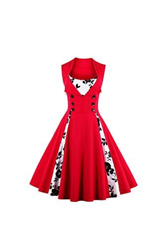 Damen Floral Jahrgang Rockabilly Cocktail Partei Kleid Red ...