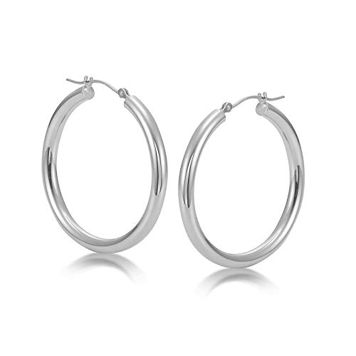 Sterling Silver Hoop Earrings - 3mm x 30mm Click-Top Tube Hoop by KEZEF Creations (Image #1)
