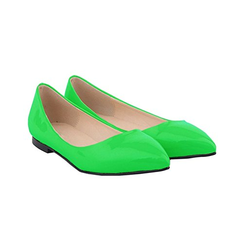 Womens Shallow Color Candy Pumps Flat Mouth Green Pointed Shoes Shoes Zhuhaixmy Leather dZCgTq4dw
