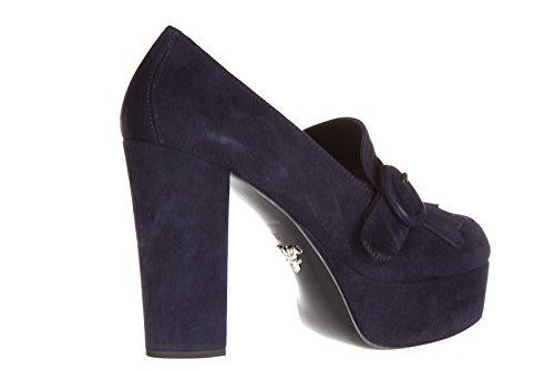 Prada escarpins chaussures femme à talon en daim blu