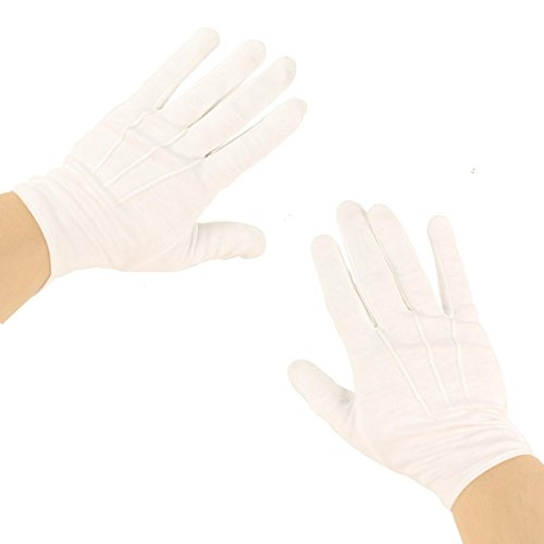 Men's Matte 100% Cotton Stretchy Wrist Plain Blank Thin Gloves White 1 Pair